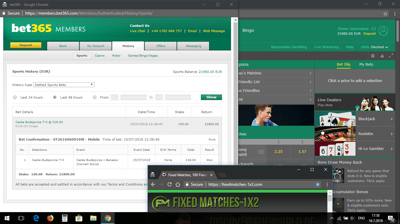 Fixed Correct Score Proof Bet365 15 july