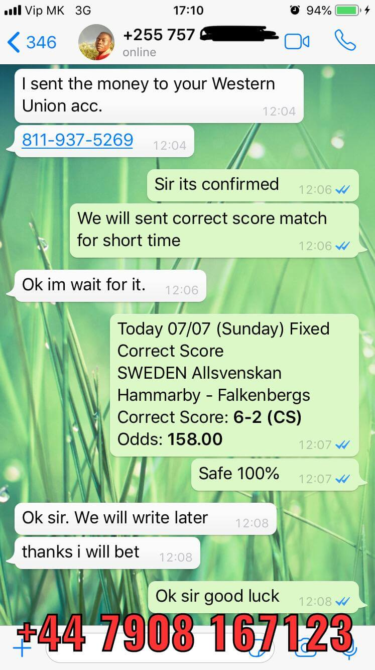 correct score fixed matches 100 won