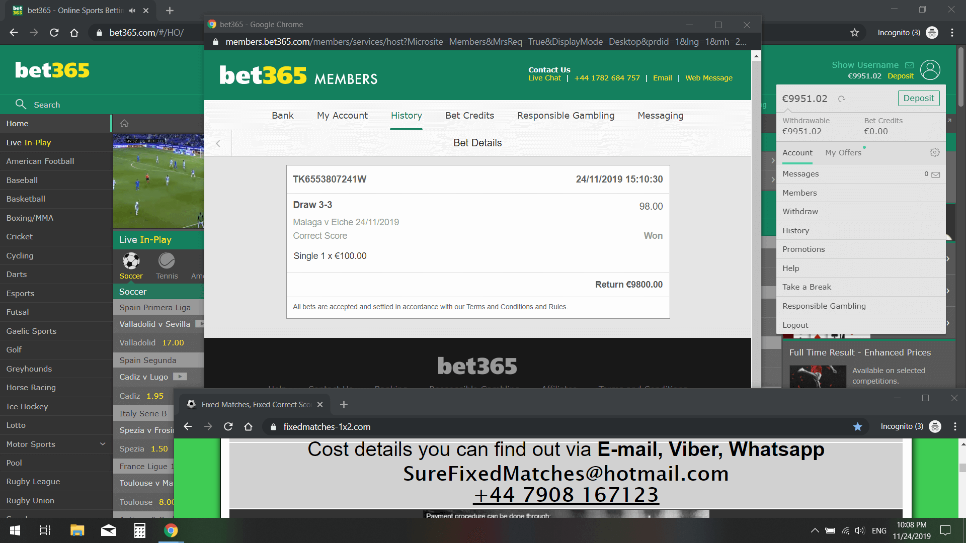 fixed correct score won 98 odds