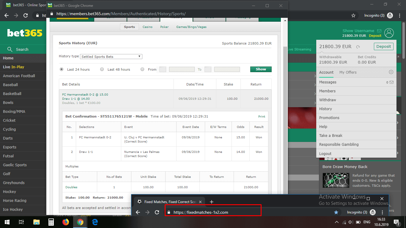 fixed matches correct score double win