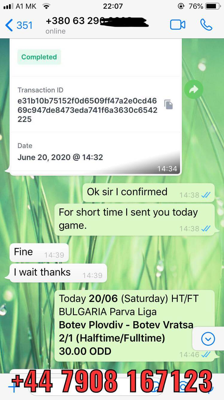 whatsapp proof fixed matches won 20 06