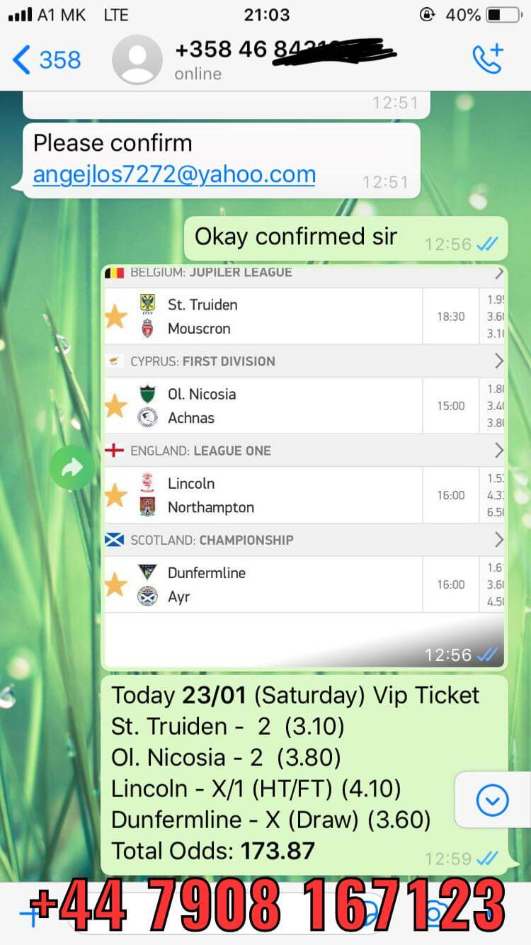 fixed matches combo vip ticket won 23 01