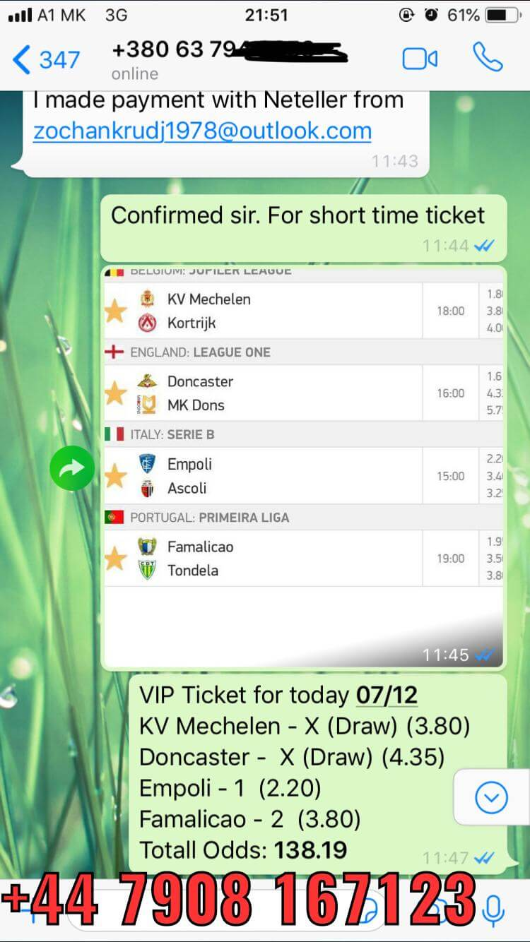 vip ticket 4 games won 138 odd