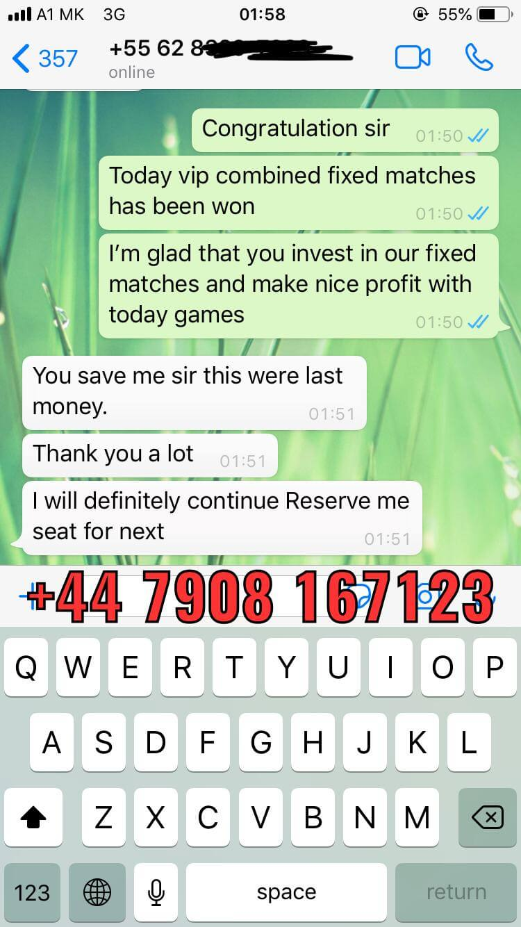 whatsapp proof from football bets won 21 11