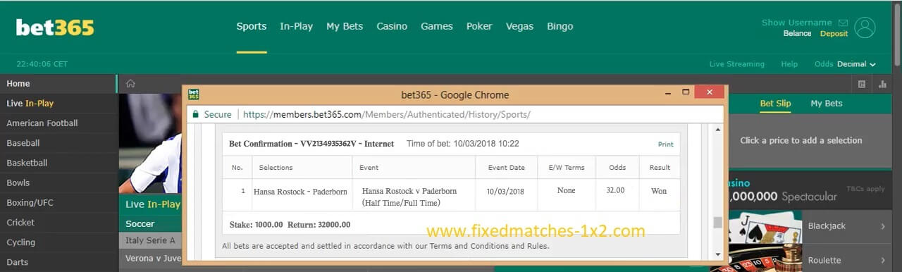FIXED MATCHES PROOF BET365 REAL
